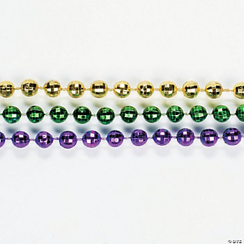 Metallic Faceted Mardi Gras Beads