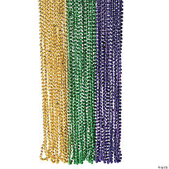 Plastic Metallic Faceted Mardi Gras Beads