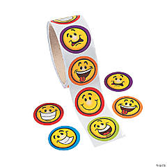 Goofy Smile Face Roll of Stickers