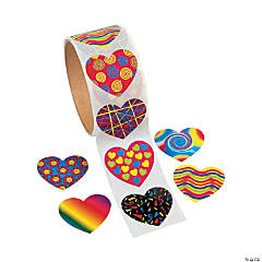 Funky Heart Roll of Stickers