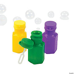Mardi Gras Hexagon-Shaped Bubble Bottles