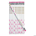 Personalized Pink Ribbon Pencils