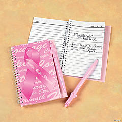 Pink Ribbon Spiral Notebook & Pen Sets