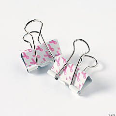 Pink Ribbon Binder Clips