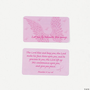 Pink Ribbon Wings Prayer Cards