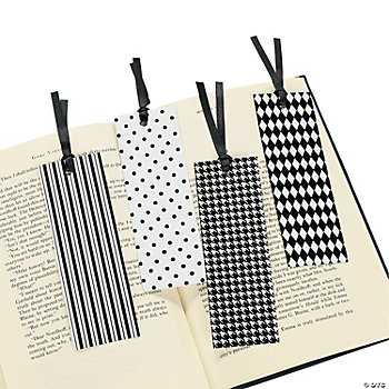 Black And White Flocked Bookmarks