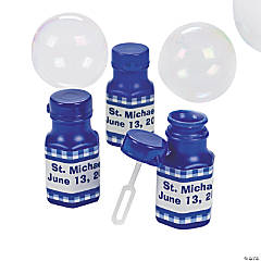 Personalized Gingham Bubble Bottles - Blue