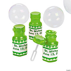 Personalized Gingham Bubble Bottles - Green
