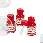 Personalized Gingham Bubble Bottles - Red