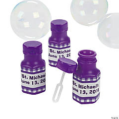 Personalized Gingham Bubble Bottles - Purple