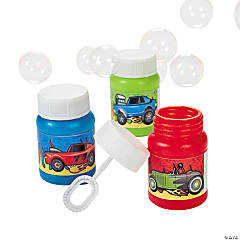 24 Mini Race Car Bubble Bottles