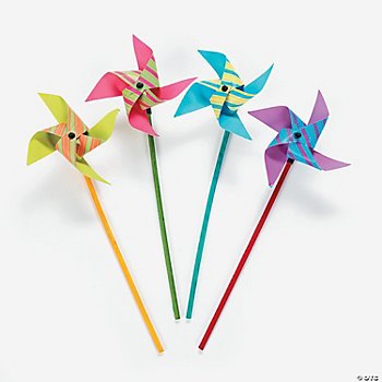 Neon Striped Pinwheels