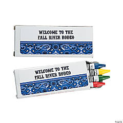 12 Personalized Blue Wild West Crayon Boxes