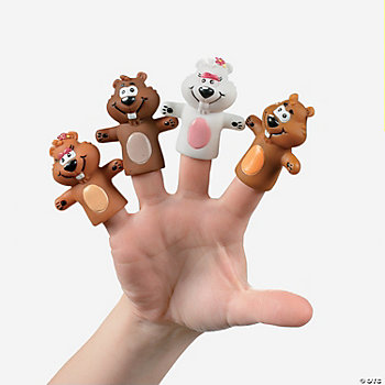 24 Groundhog Finger Puppets