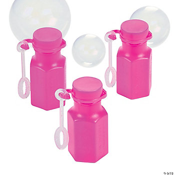 Mini Hexagon Hot Pink Bubble Bottles