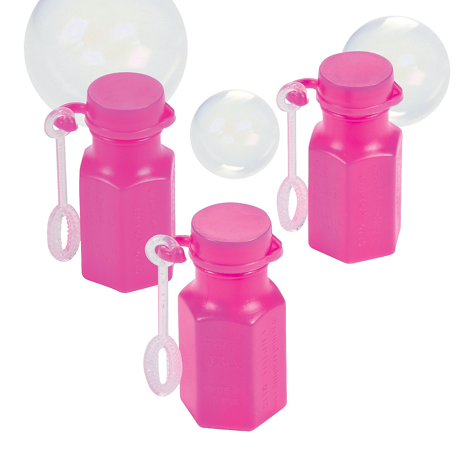Mini hexagon hot pink bubble bottles oriental trading for Mini bubble wands