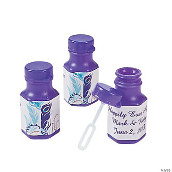 Personalized Peacock Wedding Mini Bubble Bottles