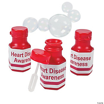 Personalized Red Mini Awareness Ribbon Bubble Bottles