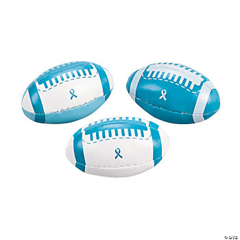 Teal Awareness Ribbon Footballs