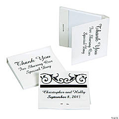Personalized Black & White Wedding Matchbook Notebooks