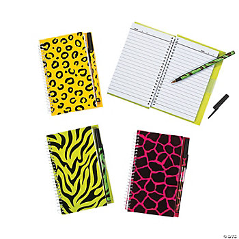 Neon Animal Print Spiral Notebook & Pen Sets