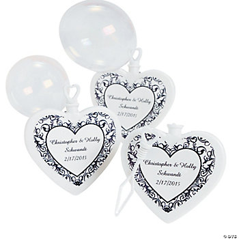 Personalized Black & White Wedding Heart-Shaped Bubble Bottles