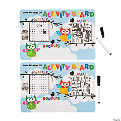 Owl Dry Erase Activity Boards with Markers
