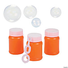 Plastic Orange Mini Bubble Bottles