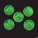 Rubber Marbleized Glow-in-the-Dark Green Bouncing Balls