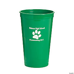 Green Personalized Paw Print Tumblers