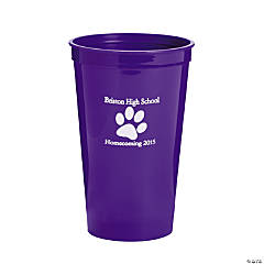 Purple Personalized Paw Print Tumblers