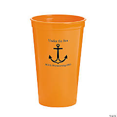 Personalized Orange Anchor Tumblers