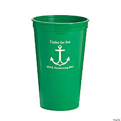 Personalized Green Anchor Tumblers