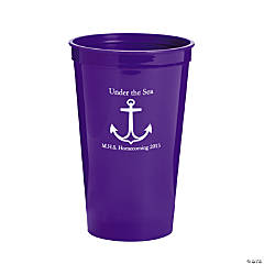 Personalized Purple Anchor Tumblers