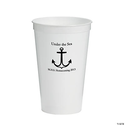 Personalized White Anchor Tumblers