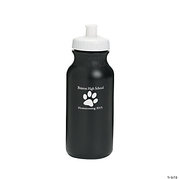 Black Personalized Paw Print Water Bottles
