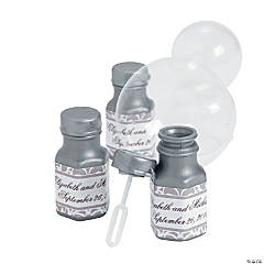 Personalized Grey & White Wedding Mini Bubble Bottles