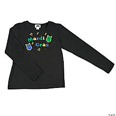 "Cotton ""Mardi Gras"" With Studs Plus Size Long-Sleeved T-Shirt"