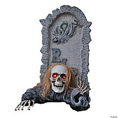 Skull Tombstone With Ground Breaker Skeleton