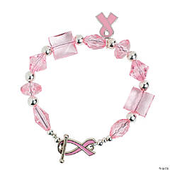 Pink Ribbon Toggle Clasp Bracelet with Charm