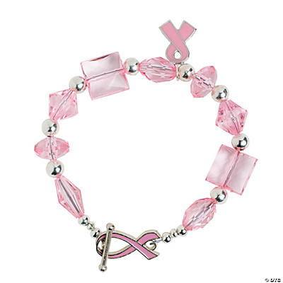 Pink Ribbon Toggle Clasp Bracelet with Charm Idea