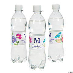 Personalized Love In Bloom Wedding Water Bottle Labels