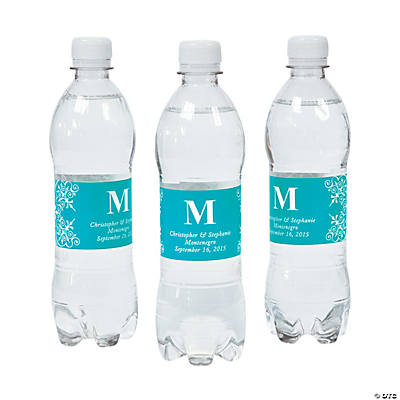 Personalized Turquoise Monogram Bottle Labels