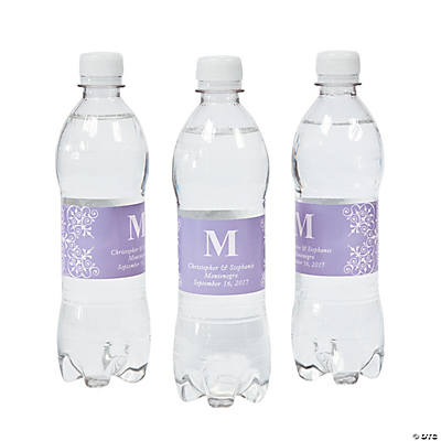 Personalized Lilac Monogram Wedding Bottle Labels
