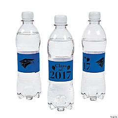 "Personalized Blue ""Class Of"" Water Bottle Labels"