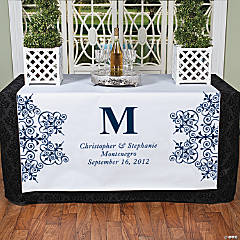 Personalized Navy Monogram Table Runner