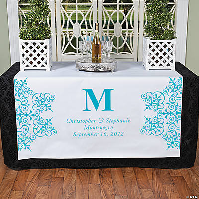 Personalized Turquoise Monogram Table Runner
