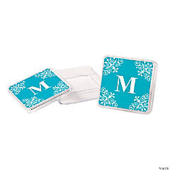 Personalized Turquoise Monogram Square Containers