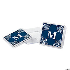 Personalized Navy Monogram Square Containers