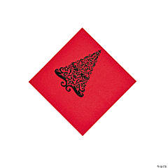 Red Glitz Beverage Napkins
